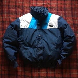 Vtg Made in USA 80s Colorblock Ski Puffer Down